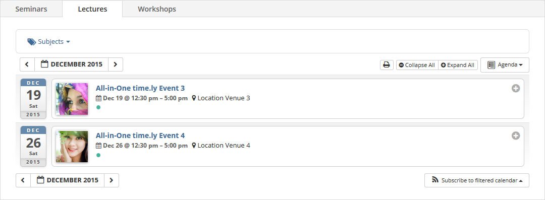 all in one event calendar categories or tags in tabs tabbed view